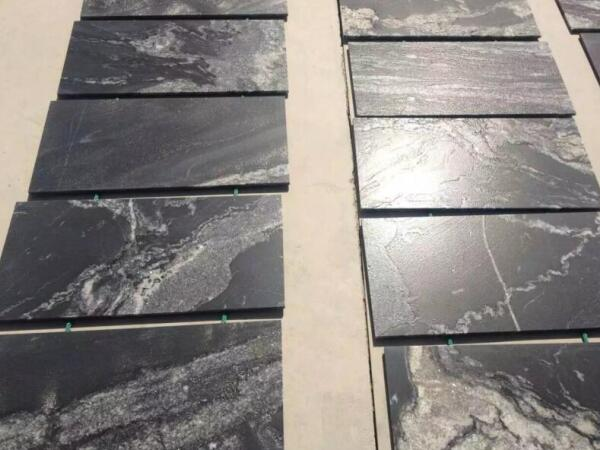 Fantasy Black Granite Flooing Tiles Leather Finished